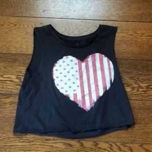 American Eagle Flag Heart Muscle Crop Top Gray XS